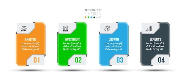 Modèle d'entreprise infographique avec conception d'étape ou d'option