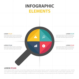 Modèle d'entreprise infographique avec loupe