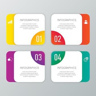 Modèle d'entreprise infographique moderne et visualisation de données avec 4 options.