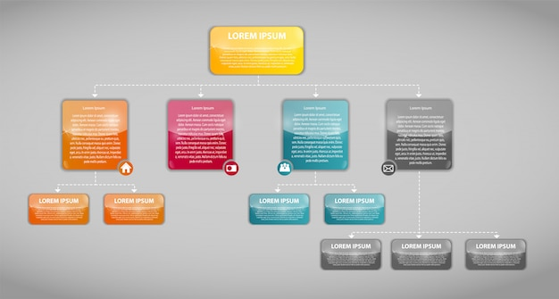 Modèle d'entreprise infographique en quatre étapes