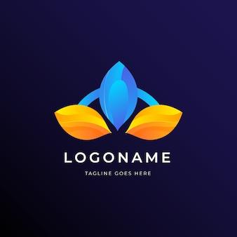 Modèle d'entreprise logo feuilles géométriques