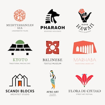 Modèle d'entreprise de logo de mode et d'art, ensemble de vecteurs de conception de marque de style de vie