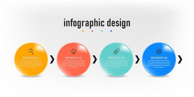 Modèle d'entreprise moderne de conception de cercle d'infographie créative et avec option de flux de travail en quatre étapes