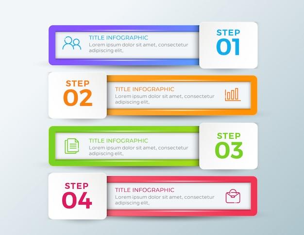 Modèle d'entreprise en quatre étapes infographie