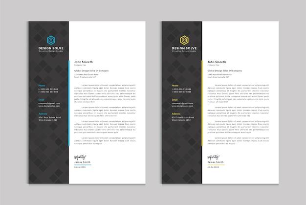 Modèle d'entreprise de tête de lettre d'affaires pour le bureau