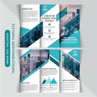 Modèle d'entreprise à trois volets bleu