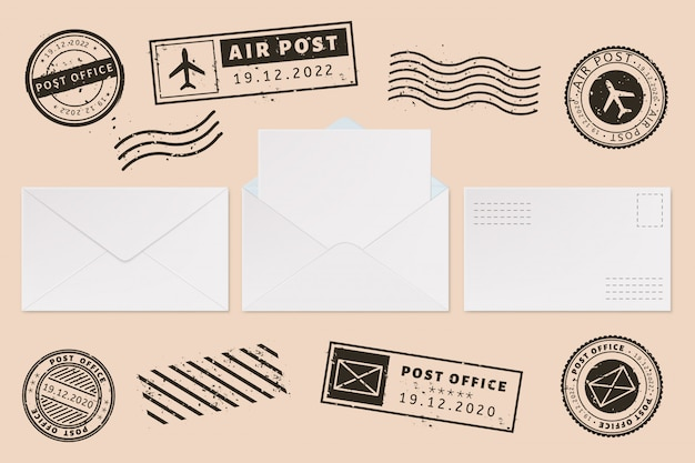 Modèle d'enveloppe avec étiquette de tampon. lettre de courrier et timbres postaux, enveloppe de courrier ouverte avec feuille de papier vierge, jeu d'illustration de maquettes de bureau de courrier. marque postale. autoriser les empreintes