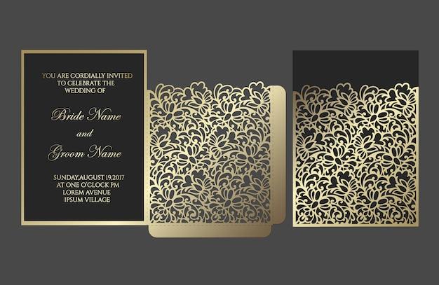 Modèle d'enveloppe de poche d'invitation de mariage découpé au laser.