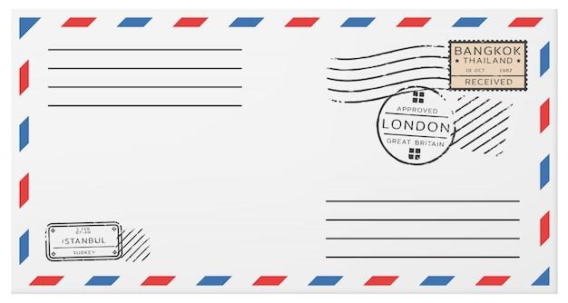 Modèle d'enveloppe postale horizontale vierge