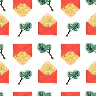 Modèle d'enveloppes et de branches de pin rouge nouvel an chinois