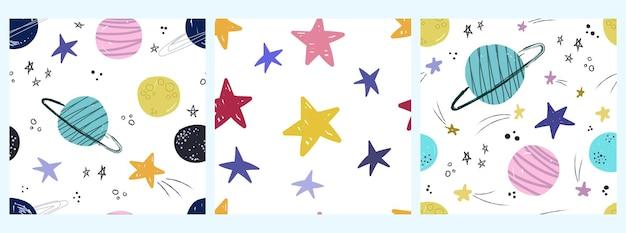 Modèle d'espace vectoriel avec des planètes et des étoiles en style cartoon