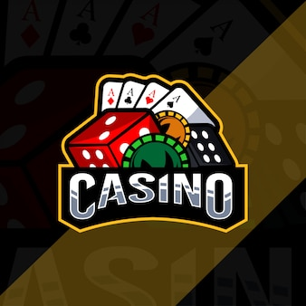 Modèle esport de logo de mascotte de casino