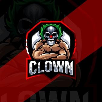 Modèle esport de logo de mascotte de clown