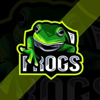 Modèle esport logo mascotte grenouille