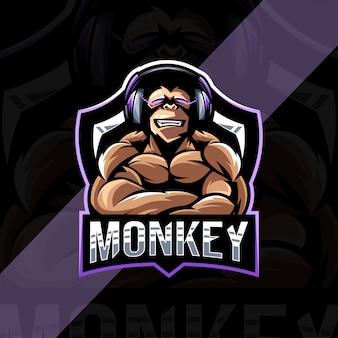 Modèle d'esport de logo de mascotte de joueurs de singe de muscle