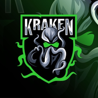 Modèle esport de logo de mascotte kraken
