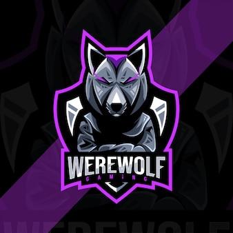 Modèle esport de logo de mascotte de loup-garou
