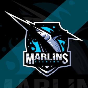 Modèle esport de logo de mascotte de marlin noir