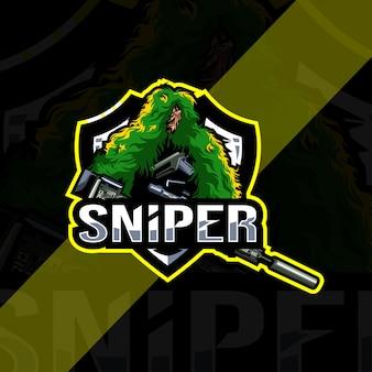 Modèle esport de logo de mascotte de sniper