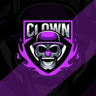 Modèle esport de logo de mascotte de tête de clown