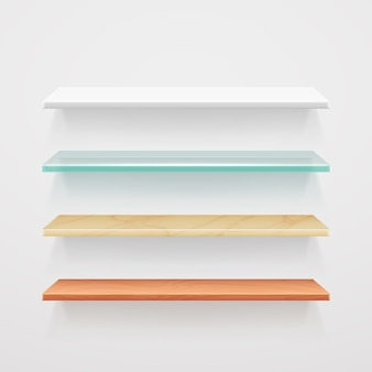 Modèle d'étagères en bois, verre, métal, plastique vide. intérieur du plateau de bureau