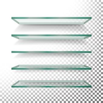 Modèle d'étagères en verre vides