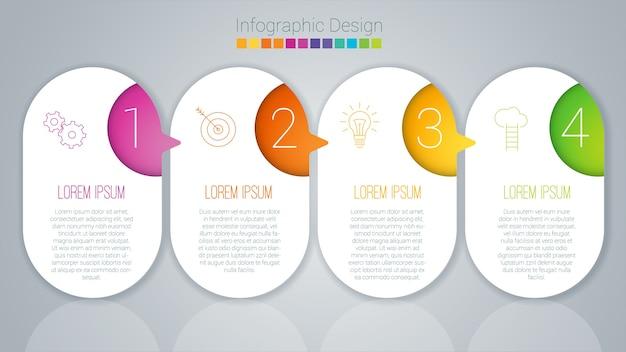 Modèle étape par étape d'infographie de couleur arc-en-ciel.