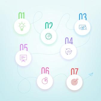 Modèle d'étapes commerciales avec des icônes de couleur. analitiques