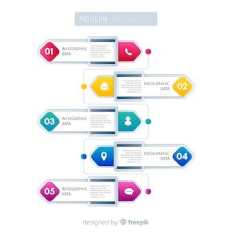 Modèle d'étapes de développement de dégradé d'infographie