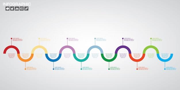 Modèle d'étapes de diagramme infographique