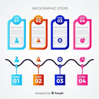 Modèle d'étapes d'étiquette infographie plat