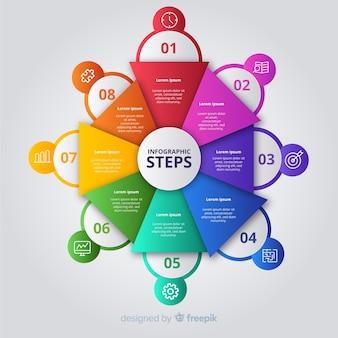 Modèle d'étapes infographie affaires plat