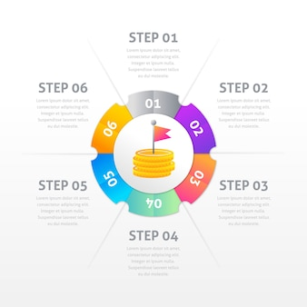 Modèle d'étapes d'infographie en dégradé