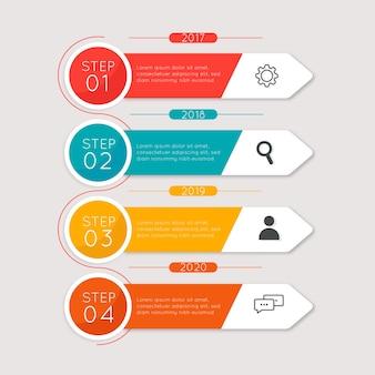 Modèle d'étapes infographie design plat