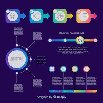 Modèle d'étapes d'infographie à gradient plat