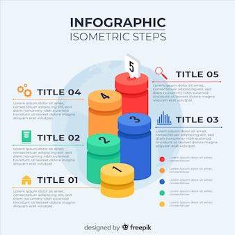 Modèle d'étapes d'infographie isométrique