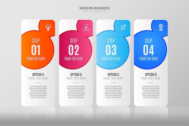 Modèle d'étapes infographiques colorées avec quatre étapes