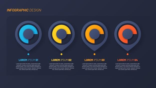Modèle d'étapes infographiques colorées