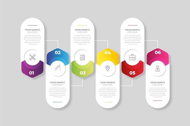 Modèle d'étapes infographiques dégradées
