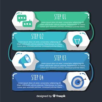 Modèle d'étapes infographiques dessinés à la main