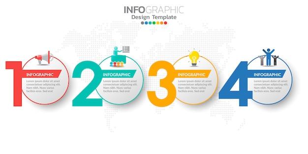 Modèle d'étapes infographiques marketing en ligne numérique pour les contenus de l'entreprise.