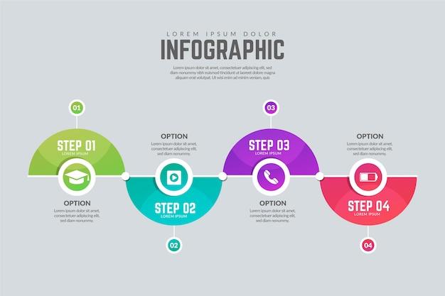 Modèle d'étapes infographiques modernes