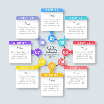 Modèle d'étapes infographiques plat