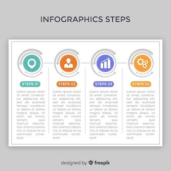 Modèle d'étapes plates infographie