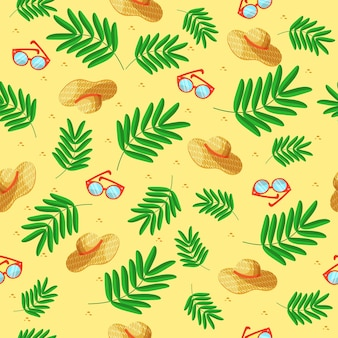 Modèle d'été chapeaux lunettes sur fond jaune avec des feuilles vertes. ornement ensoleillé avec accessoires d'été pour textile, arrière-plan, vêtements, couverture de cahier.