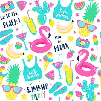 Modèle d'été. éléments de pastèque, ananas et vacances.