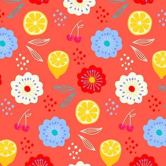 Modèle d'été avec des fleurs et des citrons