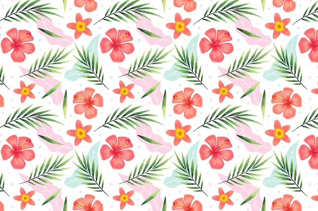 Modèle d'été avec des fleurs tropicales