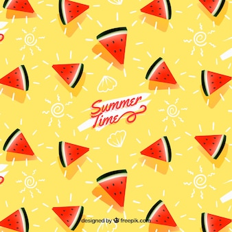 Modèle d'été avec des fruits tropicaux