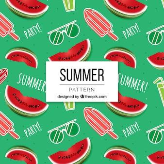 Modèle d'été avec des glaces et des pastèques